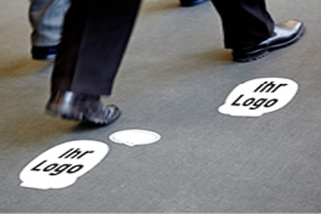 Prominently present your Company and Product to Visitors with a Floor-print.